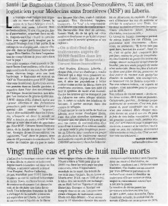 Article Midi Libre BESSE Clement